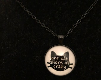 Crazy Cat Glass Dome Pendant Necklace