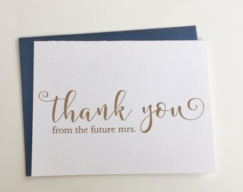 Cute Thank You From the Future Mrs. GOLD Foil Card! Customize your card - Real foil, Engagement Party, Bridal Shower - SET OF 10