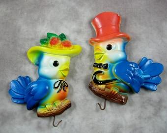 1972 Miller Studios CHALKWARE BLUEBIRDS Kitchen Wall Plaques Potholder Blue Bird