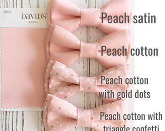 Light peach bowtie-triangle confetti bowties-Daddy and son -easter bowties -peach bowtie -ring bearer -dog bowties- Bellini Wedding bow ties