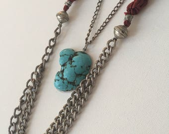 Barbosa Turquoise Pendant Necklace - turquoise howlite pendant & reclaimed chain necklace