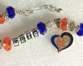 New York METS Baseball inspired handmade jewelry bracelets