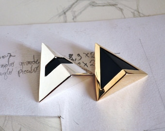 """Fencing: Silver/Gold """"Daft Punk"""" pendants-hand made in silver and gold pure-decorated in black enamel"""