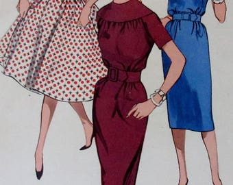 Vintage 1960s  Misses  Butterick 9333 Slim or Full Skirted  Dress Sewing Pattern Size 10