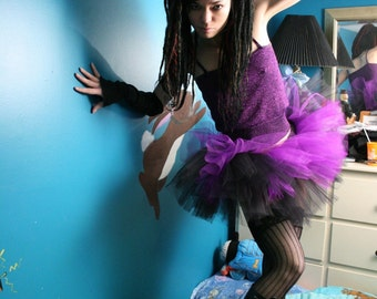 Adult tutu Layered two tone skirt gothic dance Black and purple roller derby style -- You choose size