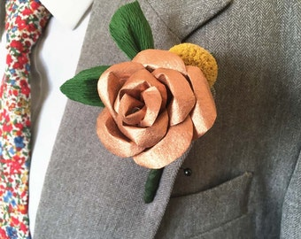 Greenery Buttonhole / Billy Button Boutonniere / Copper Paper Flower / Rose Gold Buttonhole / Dried Flower Boutonnieres / Green Wedding