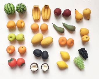 set of fruits. 17 species. 2 figures of each kind. only 34 pieces.