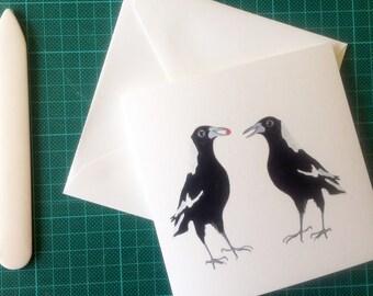 Australian Magpie, note card, greeting card, gift idea, australian card