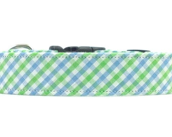 Blue and Green Checkered Gingham Dog Collar