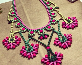 Preppy Custom Vintage Hand Painted Rhinestone Statement Necklace - Tom Binns look