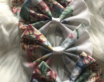 Vintage Fabric Bow Clips