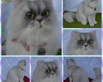 Custom Needle Felted Persian Chincilla cat Sculpture Memory Pet Portrait Wool Felt Kitten Petlover art toys Personalized gift cat lover