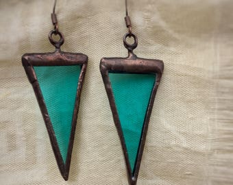 Stained Glass Earrings; Turquoise Triangle