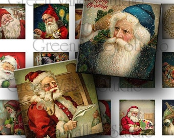 INSTANT DOWNLOAD Digital Images Sheet Vintage Santa Claus Postcards Noel Christmas One Inch - 7/8 Inch Squares for Pendants (GS74,GSS67)