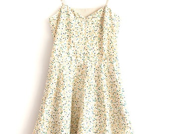 Circular dress with adjustable spaghetti straps and pockets, Firefly Print Organic Cotton or Blue Tencel or Flamingo Print