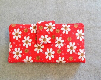 Fabric Wallet - Red Floral and Swirls