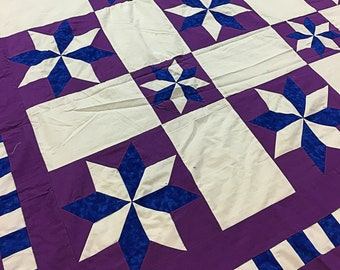 Imperial Purple Star Blocks & Borders QUILT TOP - Ready for your special touch