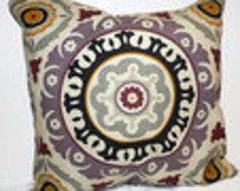 Decorative 18x18 Waverly Lilac Ikat Medallion Throw Pillow Cover