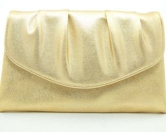Gold Leather Clutch Classic Iconic 50s Purse Golden Years Lady and Lunch Retro Gold