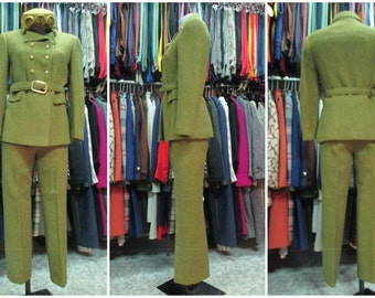60s tailored thee pcs suit/Doublebreasted jacket/Belt/Cigarette pants to the ankle/Mini skirt/Tweed/Size 8 US/Completo 3 pezzi anni 60.Tg S