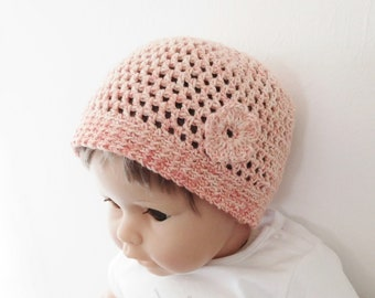 Beanie Baby 18 months - 2 years pink organic cotton with flower, crocheted hand