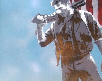 Booker Dewitt Bioshock Spraypaint Stencil by Doudkine