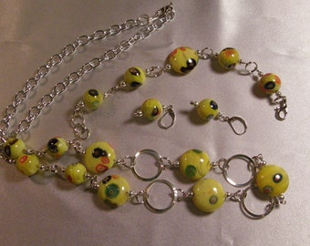 Yellow millefiori glass,  necklace, bracelet and earrings