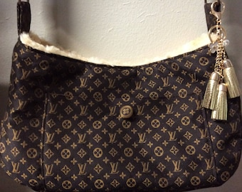 Crossbody pet carrier brown and gold LV  fabric