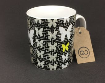 Beautiful, stylish and utterly unique 'META' ceramic coffee mug. By The Good Continuation Design Company.