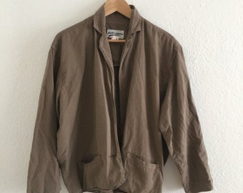 Vintage Brown East of Canton Jacket Boxy, lightweight Tan Blazer 60s 70s 80s Vtg