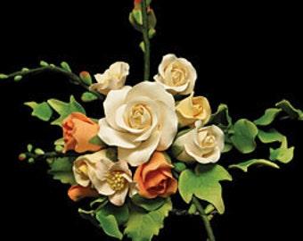Custom Order! Cake Top, Edible Cake Top,  Elegant Gumpaste White Rose and Crocosmia Berries Spray           Simply Beautiful