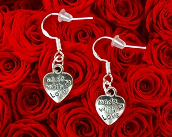 Mothers Day Earrings. Mothers Day Gift Earrings. Gift For Mom. Made With Love Charm Earrings. Cute Heart Earrings. Small Heart Charm Earring