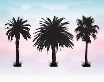 Palm tree silhouettes Palm tree Vacation SVG, print DXF, AI, ps and pdf Cutting Files for  Cutting Machines