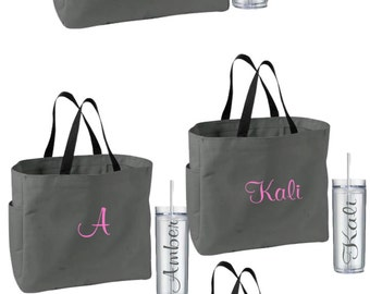 8 Personalized Bridesmaid Tote Bags and Tumblers, Bridesmaids Gifts, Bridal Party Gifts, Wedding Gift Sets, Monogrammed Totes and Tumblers