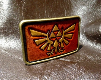 Tooled leather Zelda Triforce  belt buckle