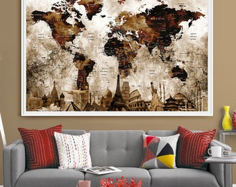 Push pin travel map World Art deco postertravel map personalized Countries Names World Map Wall Art Print Home Decor Extra Large Map(L67)