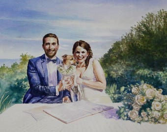 First Anniversary Gift for Husband. 1st Anniversary Gift for Him. Paper Anniversary Watercolor Wedding Painting. Custom Gift Couple Portrait
