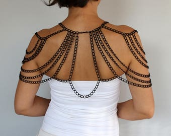 Black Shoulder Jewelry, Body Harness Metal Chain Lace Collar Capelet Top Necklace, Evening Special Occasion, Wedding Cover Evening Accessory