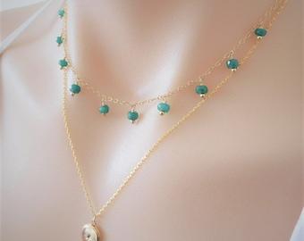 Emerald Necklace, Emerald Dangle Necklace, Green Onyx Choker, Boho Necklace, May Birthstone, Bridesmaid Gift, Gemstone Necklace, Choker