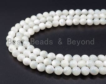 4mm/6mm/8mm/10mm/12mm High Quality White Mother of Pearl, Mop Shell, White Shell, Round Smooth Gemstone Beads, 15inch strand, SKU#T1