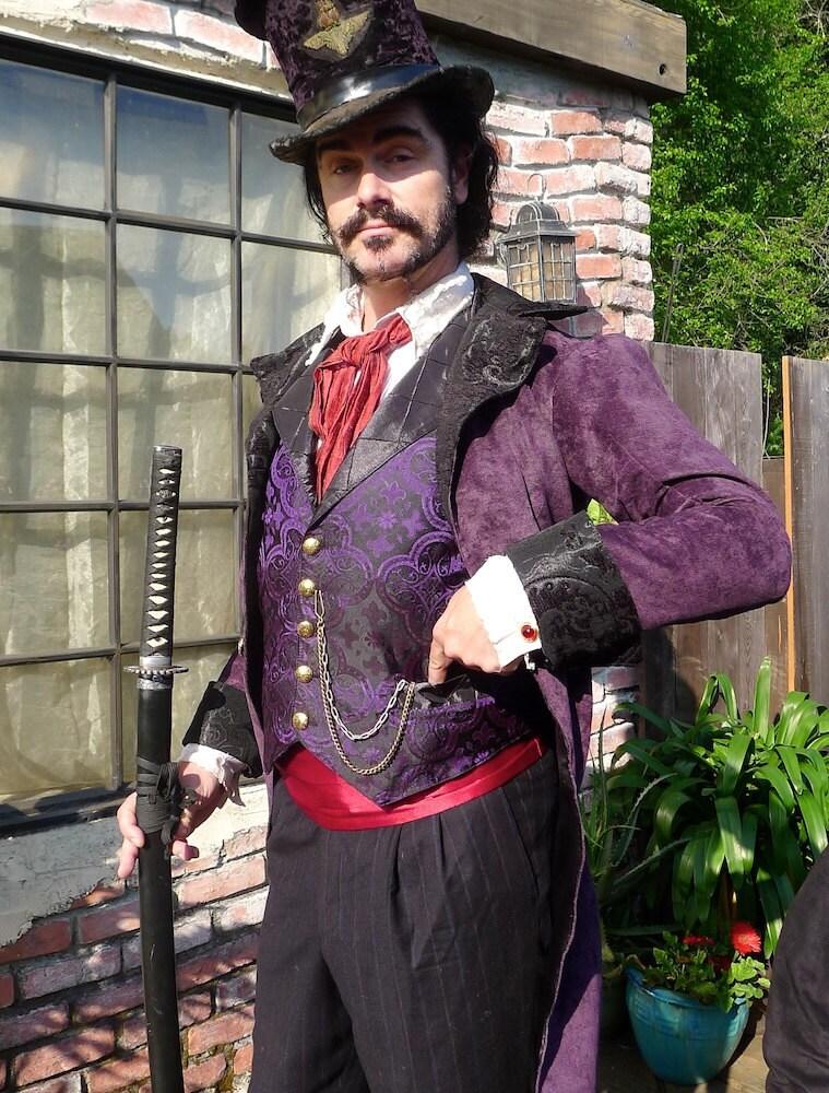 Black and Purple Medieval Pattern Silk Brocade Steampunk
