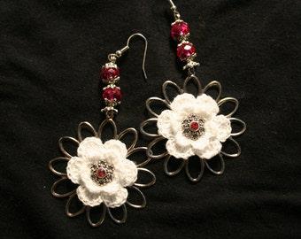 White Crocheted flower earrings