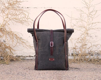 Waxed Canvas & Leather Tote Bag   Waxed Canvas Tote   Rolltop Tote Bag   Olive Waxed Canvas Rolltop Tote