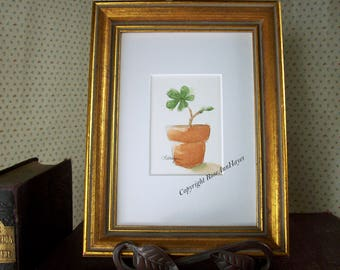 Baby Fig Tree Original Watercolor Painting Floral Garden ACEO Botanical Gift Housewarming Gardener