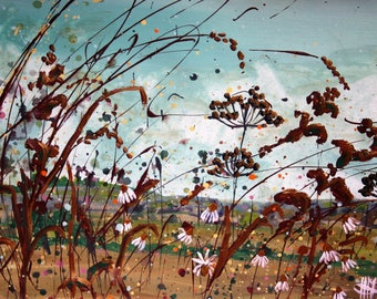 Large (A3) Giclee fine art print (limited edition) of original acrylic painting of the British hedgerow in autumn