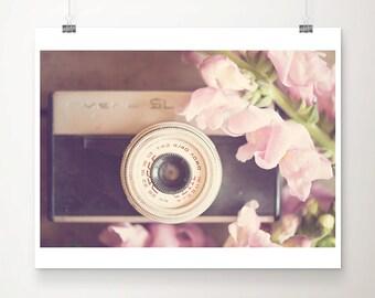 vintage camera photograph retro camera print still life photograph pink flower photograph feminine decor nursery wall art