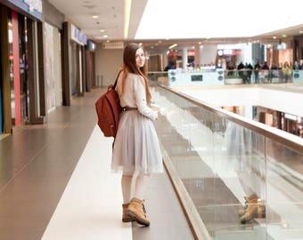 Cocoa tulle skirt. Tea length tulle skirt. Adult mini tulleskirt. Tutu. Woman tulle skirt. Wedding bridal bridesmaid skirt