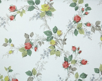 1940s Vintage Wallpaper - Yellow and Pink Rosebuds