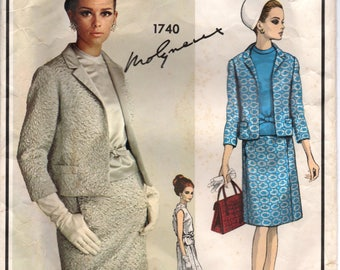 "1960's Vogue Paris Original Mod Two-Piece Dress with Blouse Pattern - Bust 31"" - MOLYNEAUX - No. 1740"