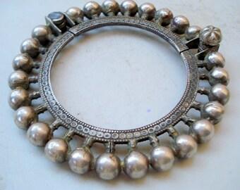 vintage antique tribal old silver bangle bracelet gypsy hippie indian